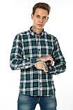 Рубашка мужская Gelix 1184-3 в клетку зеленая, фото 3