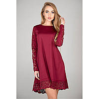 Платье нарядное бордового цвета свободного кроя молодежное с перфорацией длинный рукав