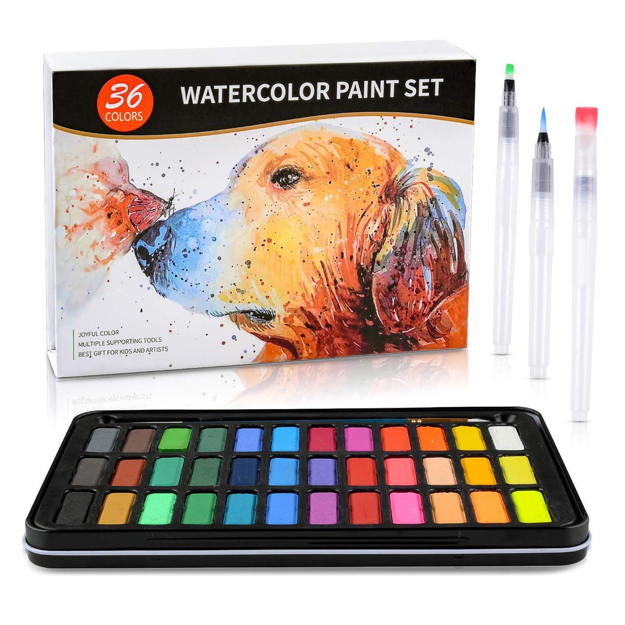ВІДЕООГЛЯД! набір акварельні фарби для малювання Professional Paint Set 36 кольорів