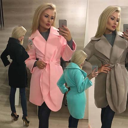 Пальто женское кашемировое с закругленными лацканами /разные цвета, 42-46, ft-293/, фото 2
