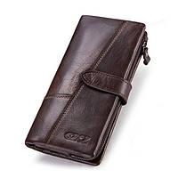 Мужской кошелек из натуральной кожи. Мужской клатч. Кожаный кошелек мужской портмоне из кожи Коричневый, фото 1