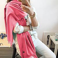 Женский шарф палантин длинный кашемировый, розовый