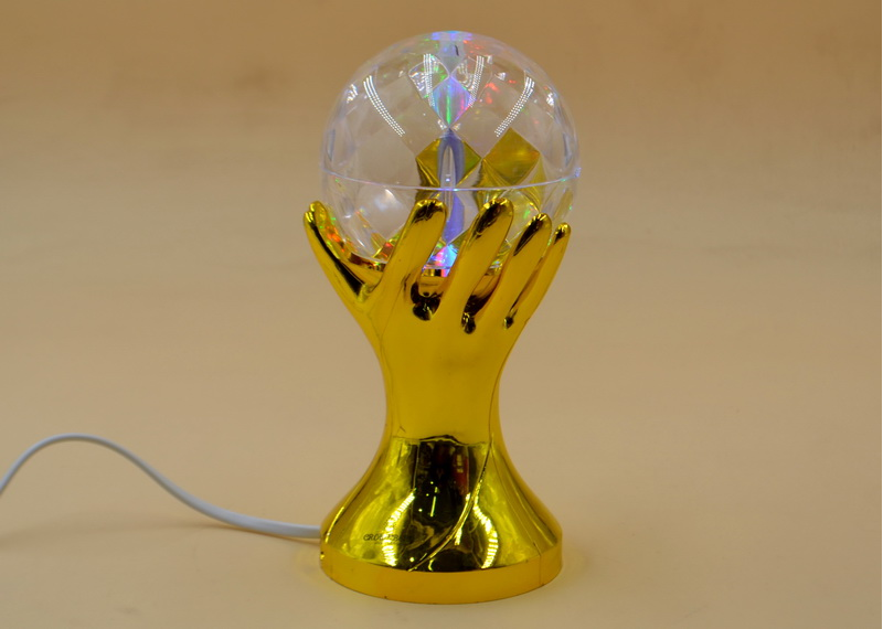 Обертова диско лампа Crownberg CB-0303 нічник, світильник Gold