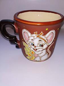 """Чашка кофейная 150мл """"Белая мышка с сыром"""""""