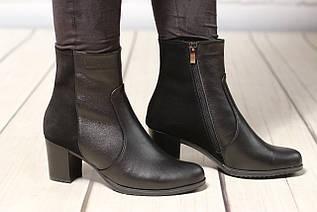 Женские кожаные ботинки TIFFANY на среднем каблуке со вставкой из кожи замша