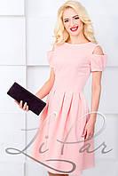 Женское приталенное платье из костюмного крепа Lipar Пудра