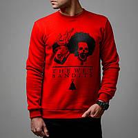 Свитшот мужской теплый с начесом стильный Мокрые бандиты, красный