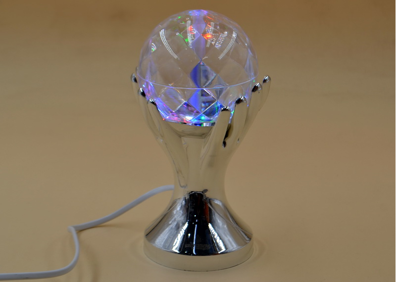 Вращающаяся диско лампа Crownberg CB-0303 ночник, светильник Silver