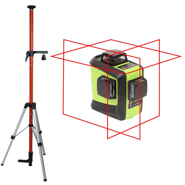 Лазерный уровень (нивелир) Fukuda 3D 93T-1 красный луч+штанга 3,5м+штатив