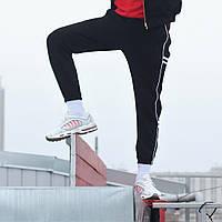 """Модные мужские спортивные штаны """"Сектор 2.0"""" трехнить на флисе черные с белыми полосками - XL, 2X"""