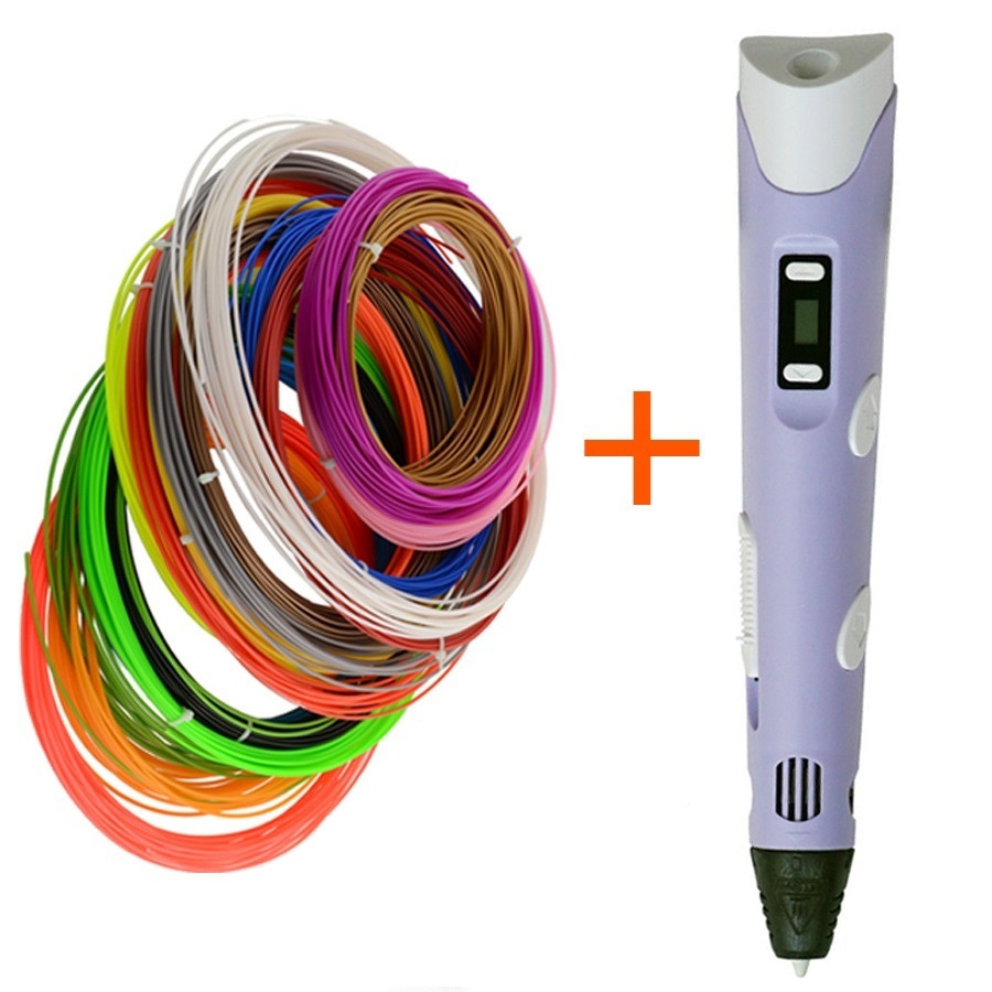 3D ручка MyRiwell LCD + 110 метров пластика - Фиолетовый