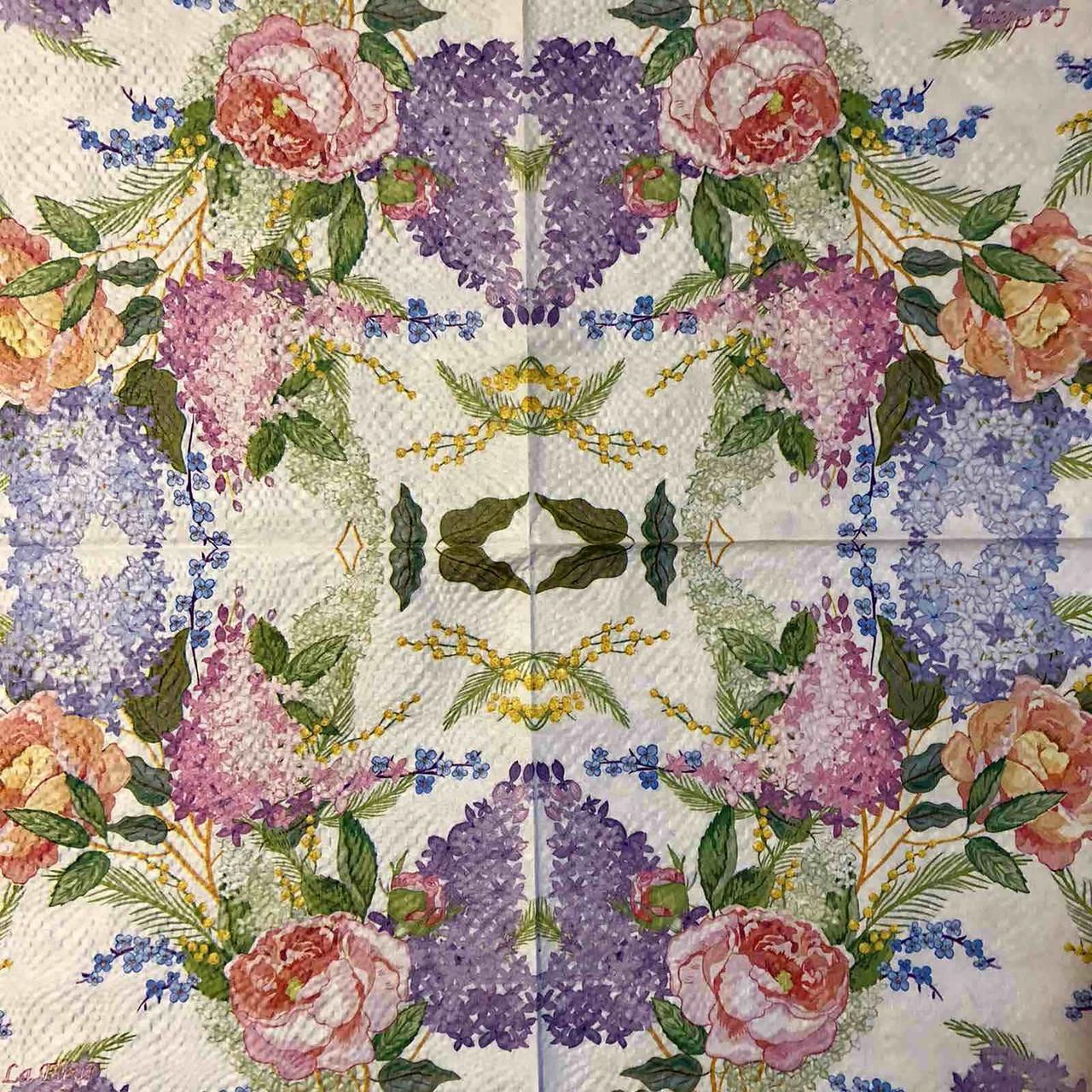 """Салфетка декупажная 33x33 см 4 """"Акварельные разные цветы"""" Серветка для декупажу"""