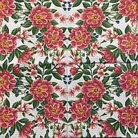 """Салфетка декупажная 33x33 см 4 """"Много розовых цветов"""" Серветка для декупажу"""