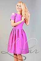 Женское нарядное приталенное платье из костюмного крепа Lipar Сиреневое
