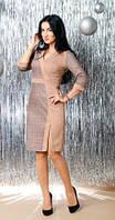 Офисное замшевое платье-футляр бежевое в клетку 44, 46, 48, 52
