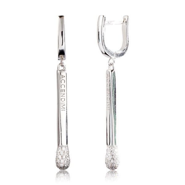 Серебряные серьги с цирконием белым