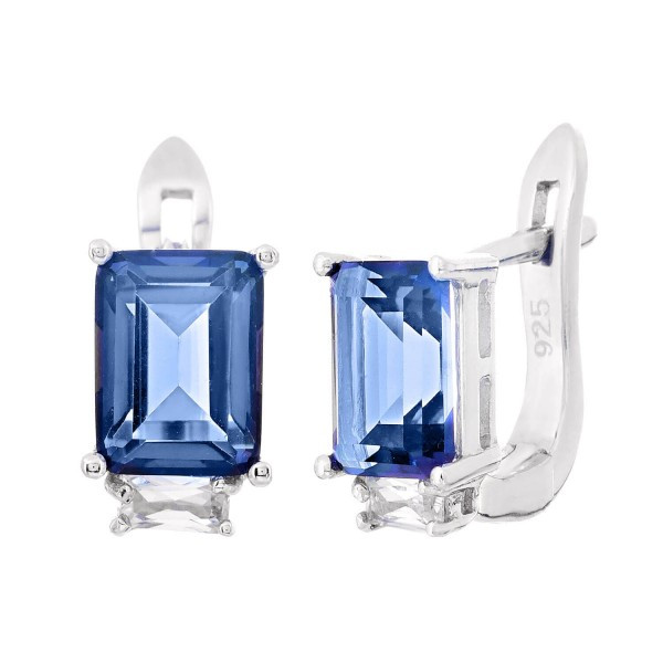 Серебряные серьги с синим мистик кварцем