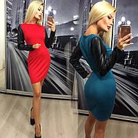Стильное женское короткое платье с длинными рукавами из эко-кожи /разные цвета, 42-46, ft-299/