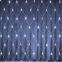 Xmas Гирлянда СЕТКА 144 диода БЕЛЫЙ (прозрачный провод,1.5*1.5м)