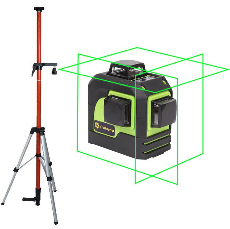 Лазерный уровень (нивелир) Fukuda 3D MW-93T зеленый луч +штанга распорная со штативом 3,5м