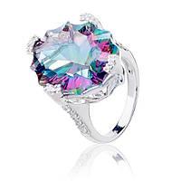 Серебряное кольцо с радужным мистик кварцем