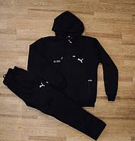 Спортивный костюм батальный с капюшоном черный зимний теплый прямые штаны