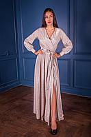Блестящее золотое платье в пол на длинный рукав (XS)