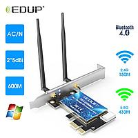 EDUP WiFi-адаптер Беспроводной Bluetooth-адаптер Двухдиапазонный сетевой адаптер AC600 PCI-E  #100021-1, фото 1