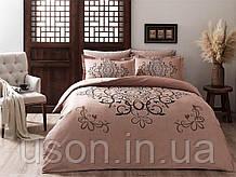 Комплект постельного белья сатин delux tac евро размер Blanda Kahve