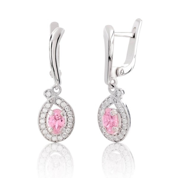 Серебряные серьги с цирконием розовым