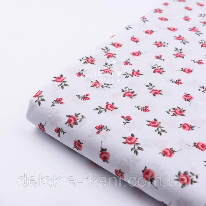 """Лоскут ткани """"Одиночные розочки"""" красные на белом №2212, размер 46*80 см"""