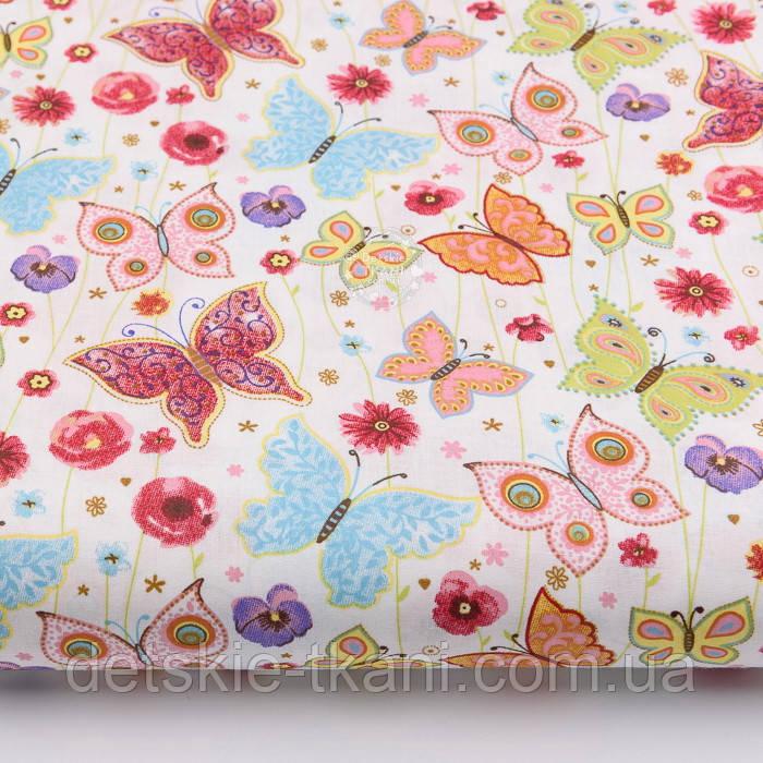 """Лоскут ткани """"Бабочки на цветочках"""" на белом (№2237а), размер 42*78 см"""