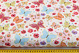 """Лоскут ткани """"Бабочки на цветочках"""" на белом (№2237а), размер 42*78 см, фото 2"""