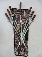 Набір шампурів 7 шт. з дерев'яною ручкою в чохлі, ручна робота, фото 1