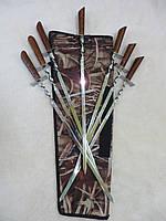 Набор шампуров  7 шт. с деревянной ручкой в чехле, ручная работа, фото 1