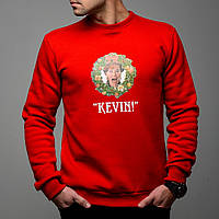 Мужской свитшот теплый яркий новогодний, один дома, Кевин, красного цвета