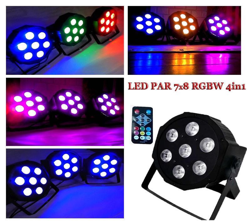 Заливочный прожектор с пультом ДУ Led Par 7x8 Wt 4in1 RGBW