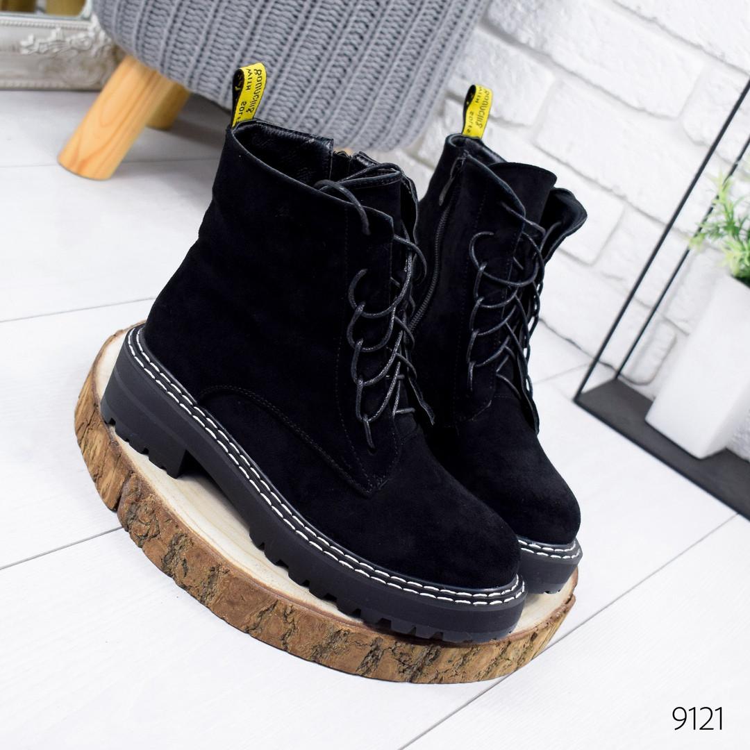 Классические черные ботинки женские эко замша
