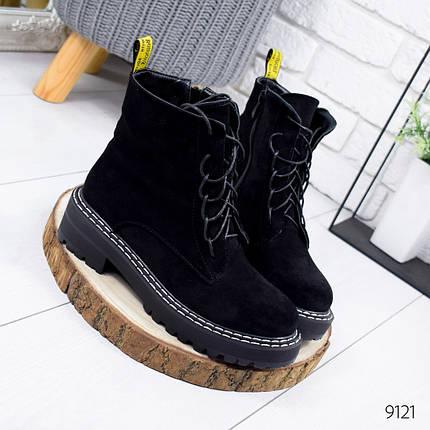 Классические черные ботинки женские эко замша, фото 2