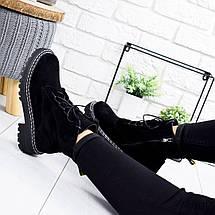 Классические черные ботинки женские эко замша, фото 3