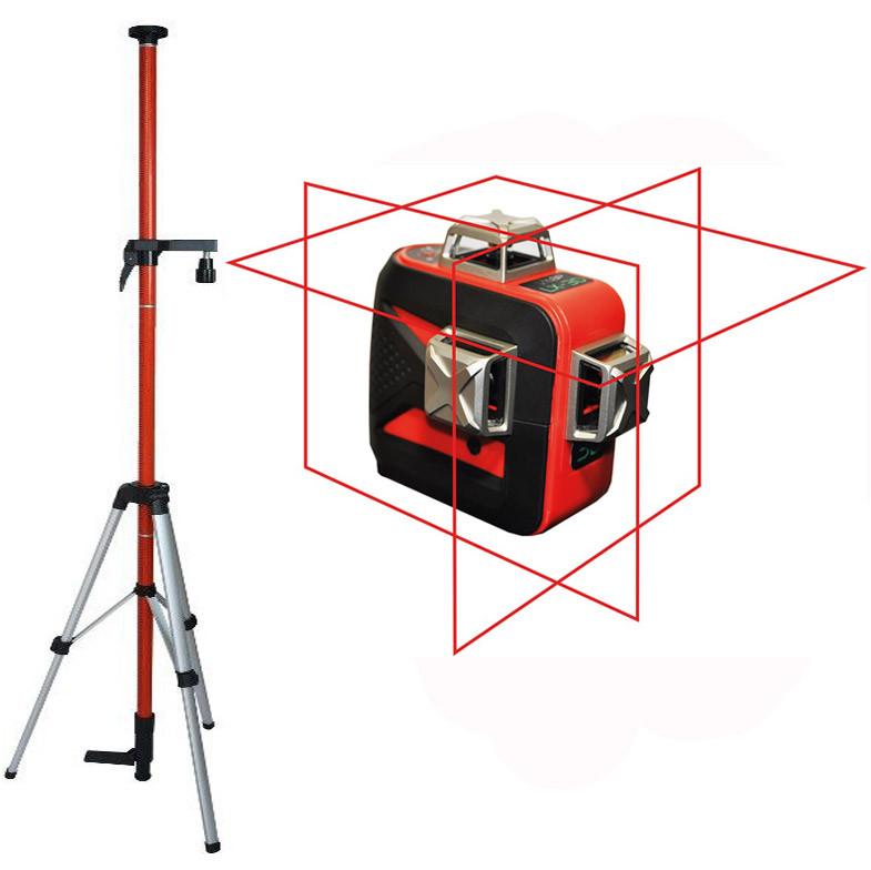 Лазерный уровень (нивелир) LSP LX-3D MAX LASER OSRAM PRO, 2 ГОДА гарантия! + штанга распорная со штативом 3,5м