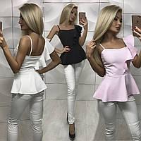 Женская блузка с баской и оборкой на одно плечо /разные цвета, 42-46, ft-360/