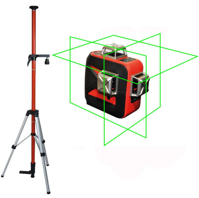Лазерный уровень (нивелир) LSP LX-3D green professional 2ГОДА гарантия! + штанга распорная со штативом 3,5м