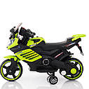 Электромобиль-мотоцикл зеленый Т-7210 EVA GREEN мотор 1*15W аккумулятор 6V4,5AH деткам 2-4 года, рост до 105см, фото 2