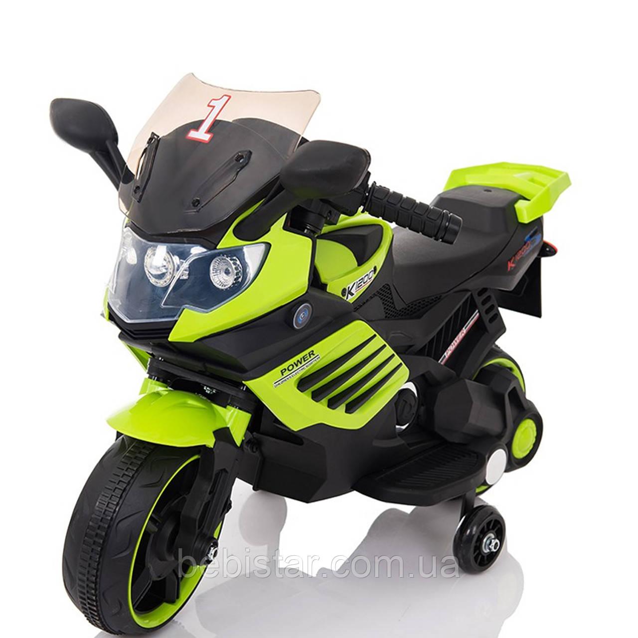 Электромобиль-мотоцикл зеленый Т-7210 EVA GREEN мотор 1*15W аккумулятор 6V4,5AH деткам 2-4 года, рост до 105см
