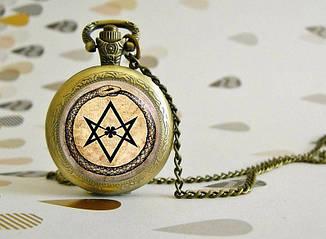 Карманные часы  Уроборос и 5ти листник