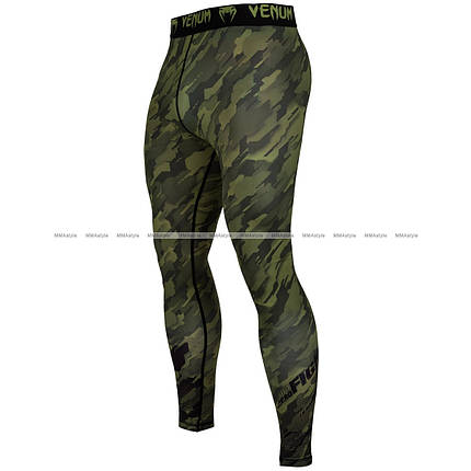 Компрессионные штаны Venum Tecmo Spats Khaki, фото 2
