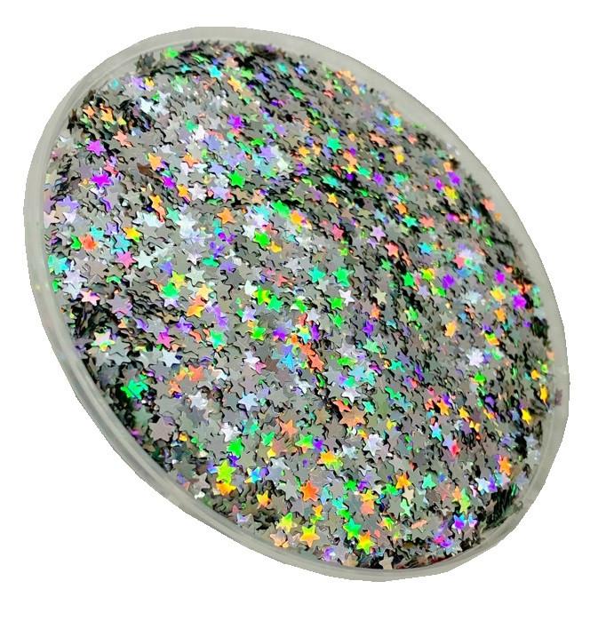 Глиттер серебряный галографический TL001-STAR, 3mm, 150мл