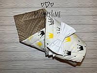 Плюшевый теплый зимний  плед - конверт на выписку , короны  100/80 см + бант
