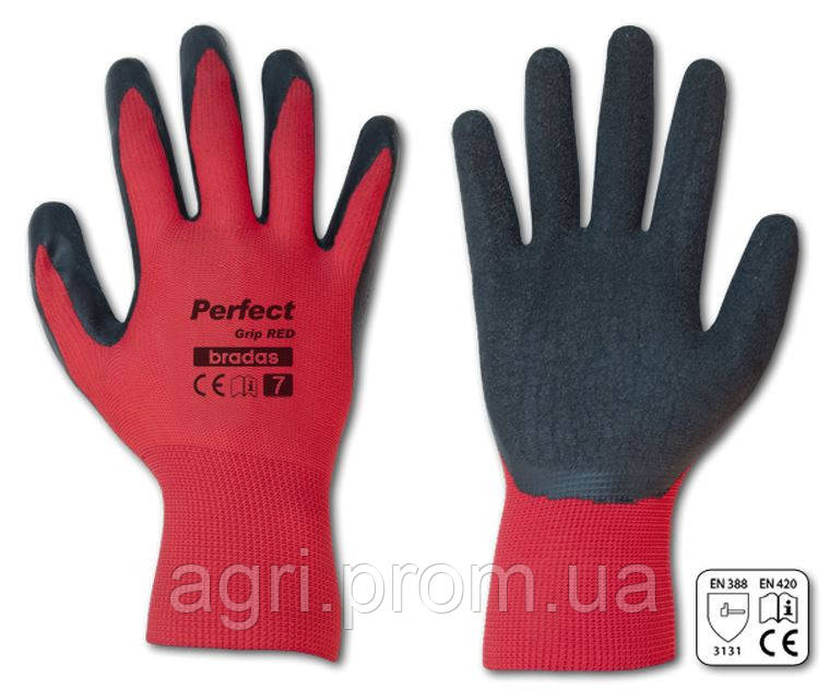Перчатки рабочие PERFECT GRIP RED латекс, размер 8